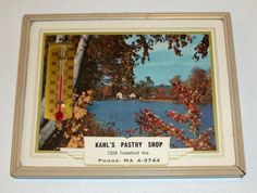 Advertising Thermometer / Calendar  Kahls Pastry by barefootMoxie