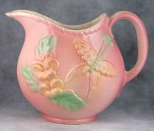 Vintage Ceramic Hull Sunglow Floral & Butterfly Pitcher Wall Pocket Vase USA #81