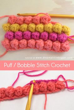 The puff or bobble crochet stitch is as simple as single and double crochet. This stitch that will provide amazing texture to your hooked bits! Puppen Englisch Puff or Bobble Stitch Crochet Tutorial Crochet Diy, Bobble Crochet, Crochet Amigurumi, Crochet Motifs, Learn To Crochet, Crochet Crafts, Yarn Crafts, Crochet Stitches Patterns, Knitting Patterns