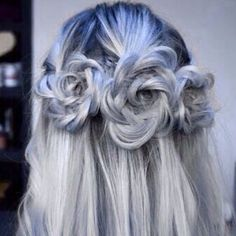 Floral inspired hair! Grey colored hair with dyed blue. Color. Colour.