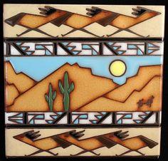 Vintage Earthtones Collector Tile/Trivet - Southwestern Arizona Design - Signed | eBay