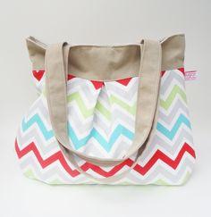 Chevron Multi Colored Pleated Hobo - The Swing Bag. $40.00, via Etsy.