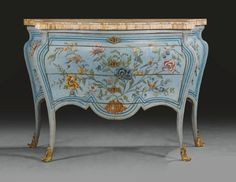 An Italian gilt-bronze-mounted pale blue and polychrome lacquered chinoiserie commode, Rome, mid 18th century | lot | Sotheby's