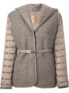 Fay Quilted Panelled Jacket in Brown Down Coat, Fashion Brands, Knitwear, Winter Jackets, Clothes For Women, My Style, Womens Fashion, How To Wear, Fashion Design