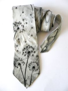Gift for MEN'S hand painted men necktie Black dandelions Redy to ship FREE SHIPPING. $60.00, via Etsy.