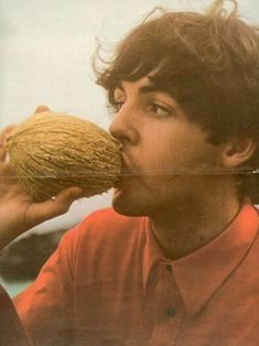"""McCartney Drinking From A Coconut """"Oooo, that guy's cute!"""" - Heather """"You mean Paul from The Beatles."""" - Heather""""Oooo, that guy's cute!"""" - Heather """"You mean Paul from The Beatles. Ringo Starr, George Harrison, John Lennon, Foto Beatles, Les Beatles, Beatles Photos, Beatles Guitar, Pop Rock, Rock N Roll"""