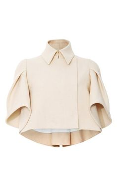 Love these sleeves on the short cropped jacket -- Woven Cape-Effect Cropped Jacket by Delpozo Now Available on Moda Operandi Fashion Details, Look Fashion, Womens Fashion, Fashion Design, Dress Fashion, Mode Style, Style Me, Magazine Mode, Mode Top