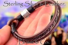 1B-059 Finely Made Sterling Silver & Leather New Bangle Wristband Men Bracelet.