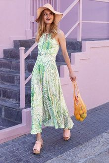 Heine Printed Halter Neck Maxi Dress at EziBuy Australia. Buy women's, men's and kids fashion online. European Fashion, European Clothing, Halter Neck Maxi Dress, Satin Hands, Kids Fashion, Fashion Outfits, Online Clothing Stores, Beachwear, Summer Dresses