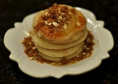 Apple Crumble - Vegan & Gluten Free Fresh Apple Pancakes with Brown Sugar Syrup and Oat Streusel