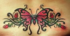 Beautiful Butterfly & Rose Back Tattoo