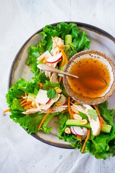 Fresh and healthy Vietnamese chicken lettuce wraps with veggies and Nuoc Cham   www.feastingathome.com