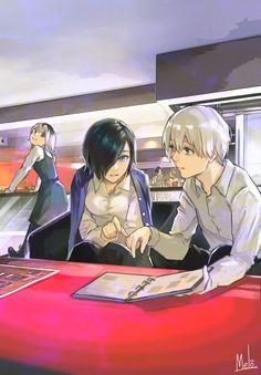 Kaneki Ken, Kirishima Touka y Ichika Kaneki Y Touka, Ken Kaneki Tokyo Ghoul, Tokyo Ghoul Manga, Manga Anime, Anime Art, Tokyo Ghoul Wallpapers, Tamako Love Story, Anime Ships, Anime Couples