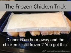 Is it time to make dinner, but your chicken in still frozen? Check out this little trick to deal with the frozen chicken when dinner time is looming. You can have it ready on time, and give your family a great meal! Cooking Tips, Cooking Recipes, Cooking Bacon, Sauce Recipes, Cooking Classes, Good Food, Yummy Food, Turkey Recipes, Kid Recipes