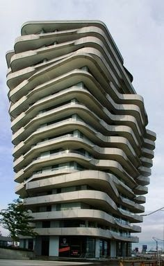 Marco Polo Tower In Germany looking like slices of bread, beautiful and creative
