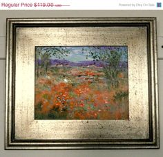 Xmas in July 50% off New original oil painting Abstract impressionist  modern impasto knife California ranchland with lavender and poppies