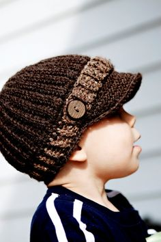 Infant to Toddler Boy Crochet Newsboy Cap--Dark Brown with light brown strap on Etsy, $16.00
