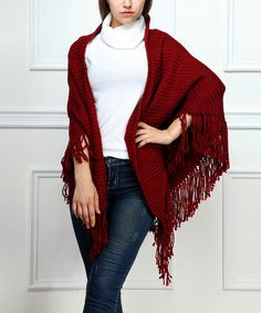 Look at this Burgundy Ribbed Fringe Shawl on #zulily today!