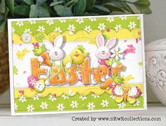 Cute Easter Bunny and chick card to wish you a colourful and Happy Easter! FQB - Egg-stra Special Collection from Nitwit Collections™
