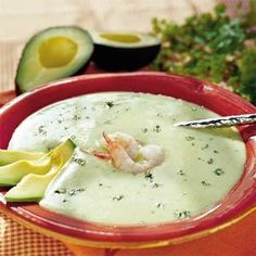 Avocado Soup - 15 Chilled Summer Soups to Make Now - Southernliving. Recipe: Avocado Soup The rich tropical flavor and buttery texture of avocadoes are unmistakable. Their abundance in the summertime makes them an ideal ingredient in the Southern kitchen. Wine Recipes, Soup Recipes, Salad Recipes, Vegan Recipes, Bahamian Food, Avocado Soup, Chilled Soup, How To Cook Shrimp, Fun Cooking