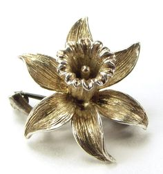 Vintage Sterling Silver 3d DAFFODIL Pin Brooch 1980's