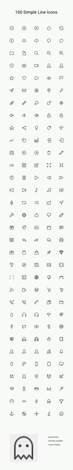 160 Simple line icons design