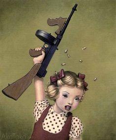 Made by: Trevor Brown , Little girl with Machine Gun