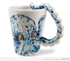 Octopus Coffee Mug with Textured Tentacle Handle