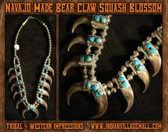 Navajo Made Bear Claw Neckalce Squash Blossom from Tribal And Western Impressions - Old West Cowboy And Indian Store - www.indianvillagemall.com