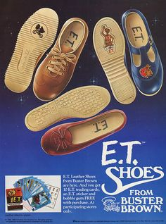 E.T. children's, kid's shoes from Buster Brown E.T. The Extra Terrestrial screens Friday, July 19, 2013 #Halifax #Waterfront #OutdoorFilmExperience