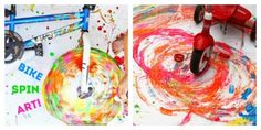 Outdoor Art Ideas for Kids - Spin art with a bike and tricycle painting