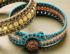 awesome DIY Bijoux - Beading Daily. Great wrapped bracelet wih chain and czech glass beads ~ Beading ...