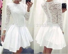 Find More Prom Dresses Information about Modest White Lace Short Prom Dresses with Long sleeves Homecoming Dress for Prom Sheer Back,High Quality dress spa,China dress mobile Suppliers, Cheap dress for less prom dresses from MyPromDresses on Aliexpress.com