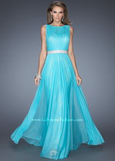 La Femme 19896 - Aquamarine Lace High Neck Prom Dresses Online #thepromdresses