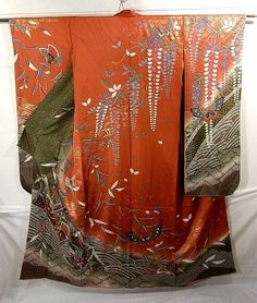tsujigahana-style stream, butterfly, weeping willow and wisteria motifs, which are dyed.