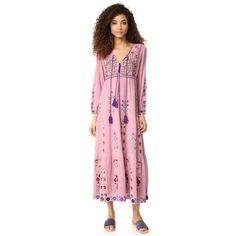 BLUE BOHEME Rafaela Dress (17,580 PHP) ❤ liked on Polyvore featuring dresses, vintage pink, ruched dress, lace up front dress, pink dress, pink lace up dress and pink long sleeve dress