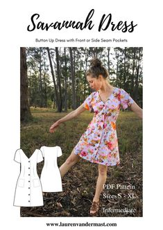 Simple Dress Pattern, Sundress Pattern, Summer Dress Patterns, Dress Sewing Patterns, Sewing Patterns Free, Free Sewing, Clothing Patterns, Shirt Dress Pattern, Clothing Ideas