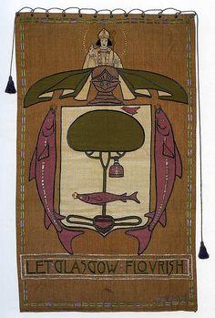 """Ann Macbeth (1875-1948) & Jessie Newberry (1864-1948) - """"Let Glasgow Flourish"""" Embroidered Panel. Embroidered & Appliqued Linen. Circa 1901."""