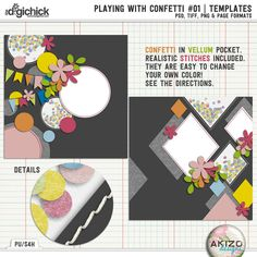Playing With Confetti #01   Templates by Akizo Designs.  Includes the pngm psd, tiff and page file formats. Now on sale at THe Digichick for less 30%