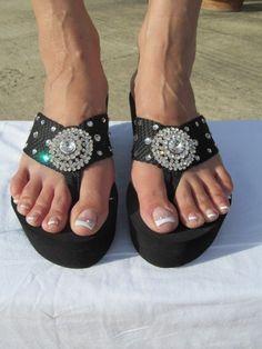 Scandalous - Miss Cellaneous  Black Wedge Flip Flop Size 6 thru 10