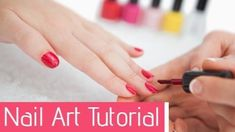A creative youtube video template. A background video of a girls nails being painted. With a pink text box displaying nail art tutorial.
