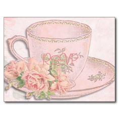 Vintage Tea Cup Wedding RSVP with Photo and Menu Postcard