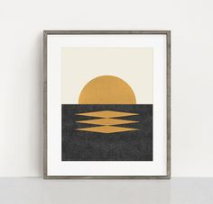 Sunset Geometric Midcentury Style Framed Art Print by Moonlightprint - Scoop White - LARGE Mid Century Art, Retro Illustration, Minimalist Poster, Home Decor Wall Art, Printable Wall Art, Framed Art Prints, Canvas Wall Art, Abstract, Artwork