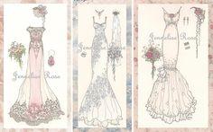 SALE  Wedding Gown Trio of Art Prints by Jenneliserose on Etsy, $10.00