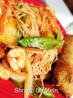 Shrimp Lo Mein: sautéed shrimp with snow peas, waterchest nuts, carrots, onions and rice stick noodles tossed in a sweet and sour hoisin sauce with vegetable egg roll.