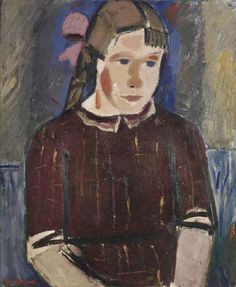 Gustave De Smet (1877-1943) Girl with a pink ribbon