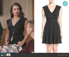 99e2d1cdee3a Valentina s black v-neck textured flare dress on The Mayor