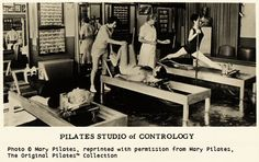 """Contrology begins with mind control over muscles."" Joseph Pilates' New York studio. #pilates"