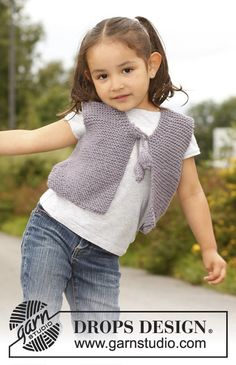 "Evelina - Small knitted DROPS vest in garter st in ""Nepal"". Size 3 to 12 years. - Free pattern by DROPS Design Kids Poncho Pattern, Kids Knitting Patterns, Crochet Vest Pattern, Knitting For Kids, Crochet For Kids, Free Knitting, Baby Knitting, Crochet Baby, Free Pattern"