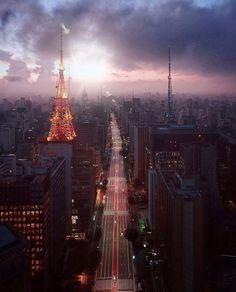 Avenida Paulista by @offlimitsbr  #saopaulocity #EuVivoSP #paulista Paulistano, Outside World, City Streets, Empire State Building, Brazil, New York Skyline, Around The Worlds, Neon, Urban